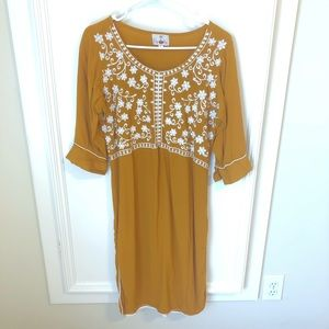 Mustard Yellow Floral Embroidered Tunic Small
